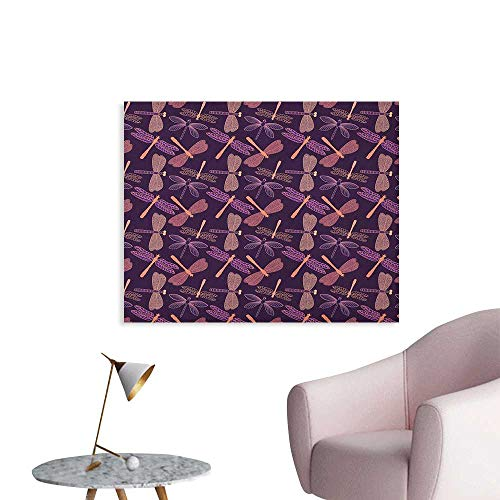 Anzhutwelve Dragonfly Wallpaper Girly Feminine Design with Stylized Vintage Vibrant Insect Animals Pattern Poster Paper Purple Peach W36 xL24 -