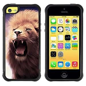 "Pulsar iFace Series Tpu silicona Carcasa Funda Case para Apple iPhone 5C , Rugido del león Colmillos Dientes Mane púrpura Bostezo"""