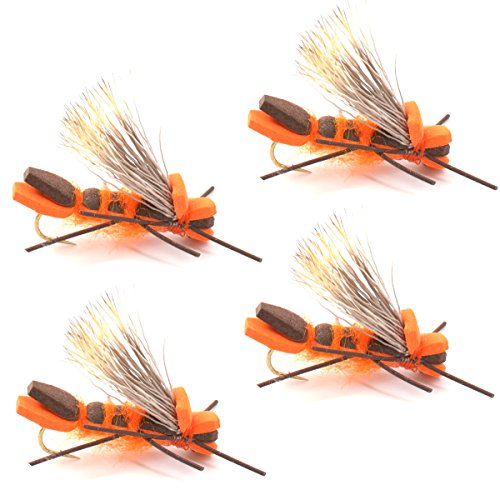 Godzilla Hopper Fly Fishing Flies - Orange High Visibility Grasshopper or Stonefly Dry Fly - 4 Flies Hook Size 8