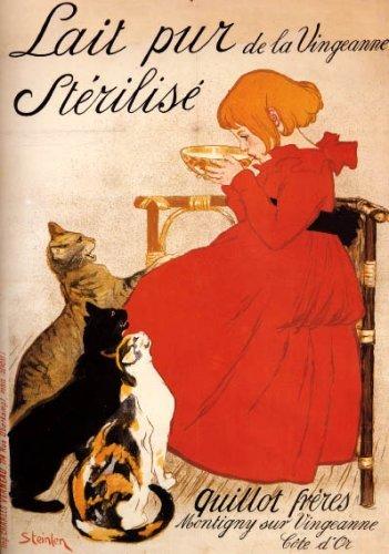 GIRL MILK CAT LAIT PUR STERILISE FRENCH LARGE VINTAGE POSTER REPRO