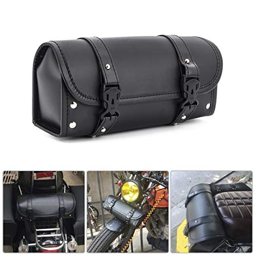 Motorcycle Tool Bag, Universal PU Leather Motorcycle Fork Bag Saddlebags Handlebar Bag Sissy Bar Storage Tool Bag for Honda Kawasaki Suzuki Yamaha Sportster (Black-1)