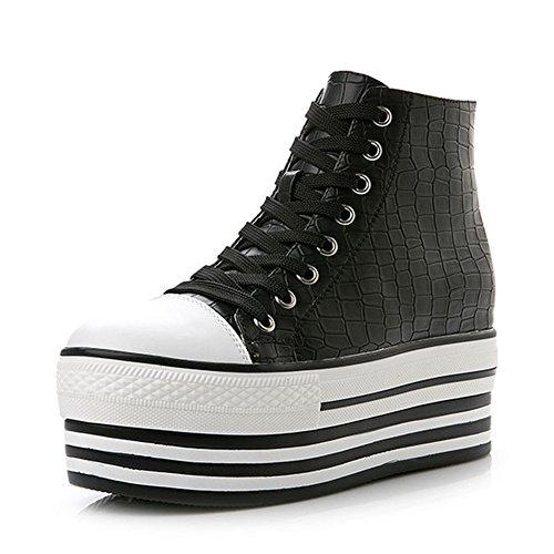 Cales De Mode Femmes Toile Chaussures Haut Haut Lacets Jusquà La Mode Baskets De La Plate-forme Noir