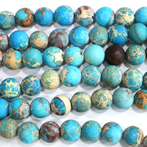 (Natural Genuine Blue Sea Sediment Jasper Round Gemstone Jewelry Making Loose Beads (Matte 10mm))