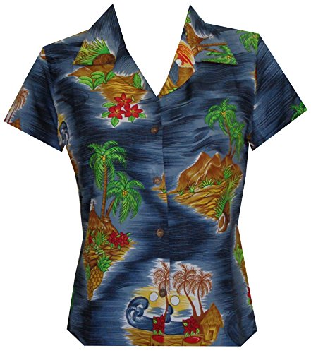 Alvish Hawaiian Shirt 8W Women Scenic Flower Print Aloha Beach Blouse Black XS (Scenic Hawaiian Shirt Print)