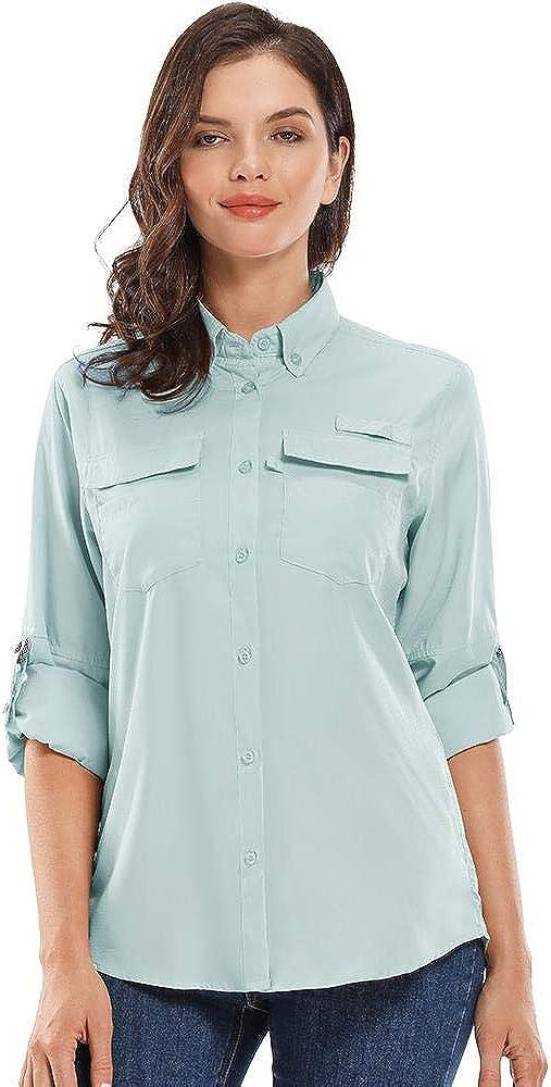 Women's UPF40+ Long Sleeve UV Sun Protection Shirts Quick Dry Swim Outdoor T-Shirt for Fishing Running