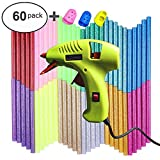 NEX&CO Kids Mini Hot Glue Gun with 60 Pack Colored Glue Sticks - Melting Adhesive Glue Gun Kit for Small Arts Craft Projects with Finger Protectors - Safety Low Temp On Off Switch LED Indicator Green