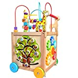 Techecho Puzzle Beads Labyrinth Roller Coaster Early Childhood Education Wooden Activity Cube 5 in 1 Center Multifunctional Wooden Four-Wheeled Push Walker Wooden Educational Toy