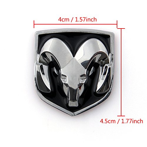 Areyourshop Head Grill Tailgate Emblem Badge Sticker Decal Chromed Metal For Dodge Ram 4x4 5 Cm 1 57x1 77 Inch Black