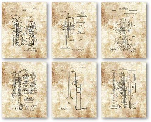 Original Wind Ensemble Instruments Horns Artwork – Set of 6 8 x 10 Unframed Patent Prints – Great Gift for Musicians, Music Studios, Practice Room