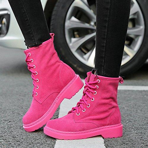 Moda Para E Ayudar Cuero Alto RoseRed Invierno Zapatos Otoño Martin Inglaterra Botas Encaje xYw6zd6q