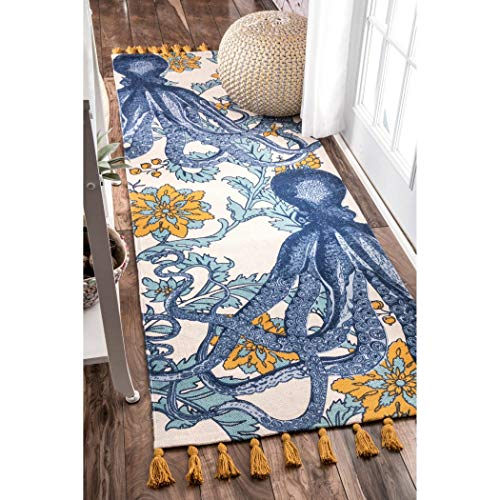 2'8 x 8' Blue White Octopus Runner Rug Rectangle, Indoor Yellow Teal Beach Theme Hallway Carpet Coral Reef Pattern Tropical Ocean Themed Entryway Lake House Cottage Flower Entrance Way, Polypropylene (Coral Rug Tropical)