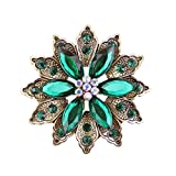 Ailer Holiday Promotion 15% Discount Off Vintage Green Created Crystal Brooches for Women Broomly Flower Brooch Pin-26G