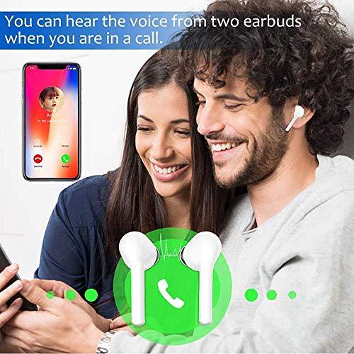 2020 NEU Bluetooth Kopfhörer,Stereo-Minikopfhörer Sport Kabellose Kopfhörer mit Portable Mini Ladekästchen und Integriertem Mikrofon für Android iPhone (weiß-20)
