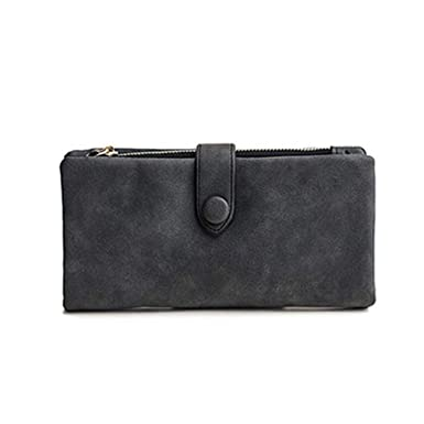 76ae35215259 Soft Nubuck Leather Long Wallets Women Lady Money Clutch Bag Large ...
