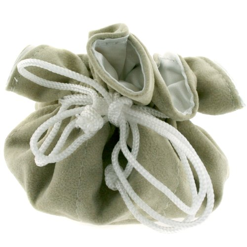 Jewelry Pouch Drawsting Travel Bag Party Favors Cream Faux Suede 9 Inches Round