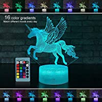 Palawell for Girls - Unicorn 3D Night Light 15 Changing...