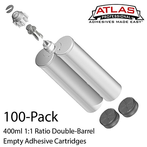 Atlas Pro 400ml (13.2oz) Empty Dual-Barrel 1:1 ratio cartridges ONLY, with sealing cap & pistons 100-Pack by Atlas