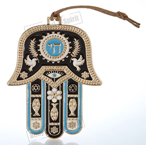 Hamsa hand Wall Hanging decor Lucky Charm Gold tone CHAI Judaica Kabbalah evil eye Gift - The Energy Of Hebrew Letters