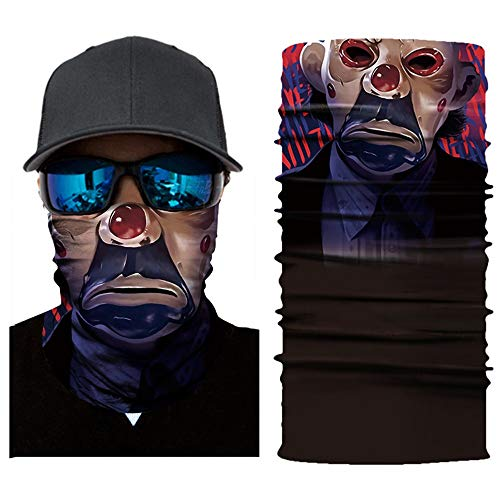 CapsA Novelty Bandanas for Men Women Face Shield for Music Festivals Dust Protection Variety Magic Face Mask for Riding Outdoors Cycling Motorcycle Head Scarf Neck Balaclava Headband Halloween ()