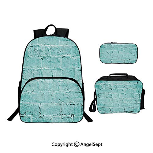 Hot Sale School Backpack For Girls 3 pcs per set,Brick Old Wall Background in Tones Architecture Urban Building Artsy Picture Turquoise,With Lunch Box Pencil Bag Very Convinent ()