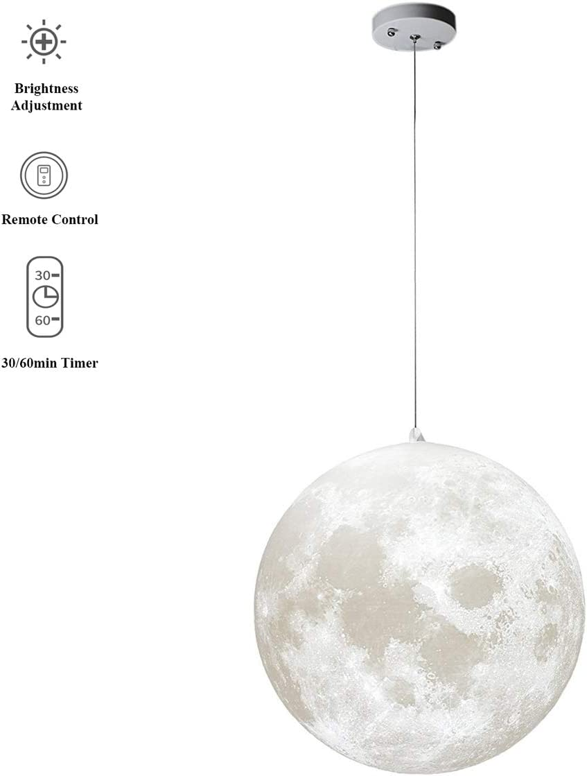 MQ 10 inch Moon Pendant Lamp with Remote Control, 3000K-6500K Brightness Adjustable, 3D Printing Ceiling Light for Home, Office, Bars and Cafe, 12W E26 LED Bulb Included