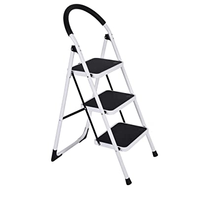 Step Stool Stepladders Lightweight 2/3 Step Folding Step Ladder with Anti-Slip Sturdy and Wide Pedal Ladder for Photography, Household and Painting 300lbs (White (3 Step)): Toys & Games