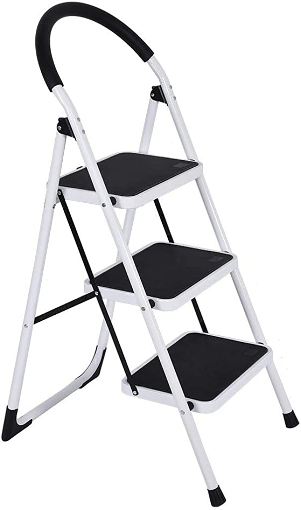 Alalaso 3 Step Ladder Folding Step Stool 3 Step ladders with Handgrip Anti-Slip and Wide Pedal Sturdy Steel Ladder