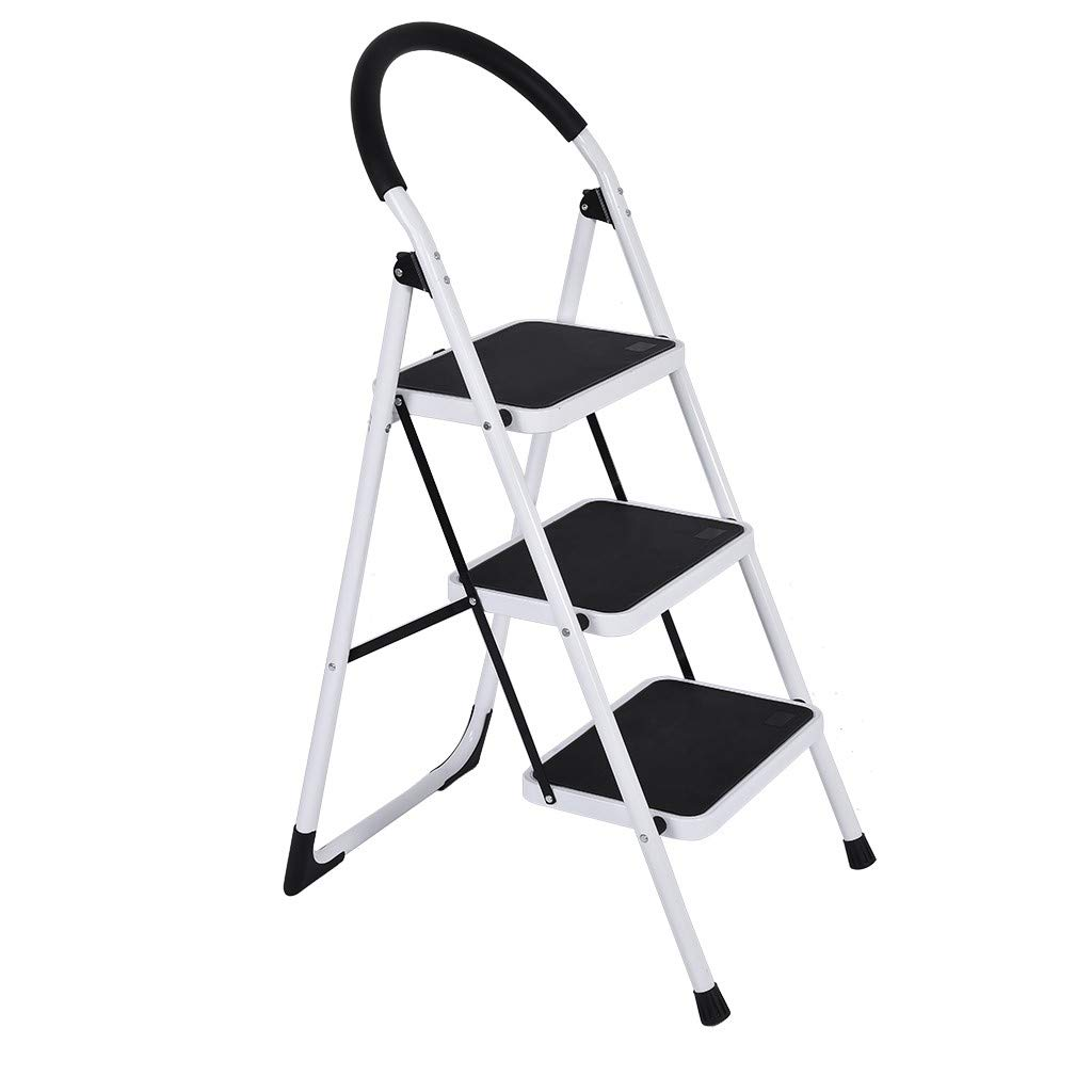 Mosunx 3 Step Ladder Folding Stool, 330lbs 3 Step ladders with Handgrip Anti-Slip and Wide Pedal Sturdy Steel Ladder (White) by Mosunx