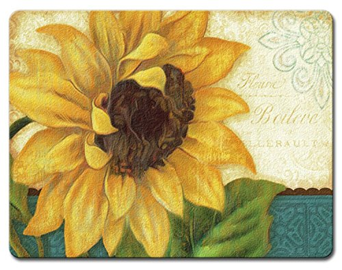 (Sunshiny Day Bright Yellow Sunflower Tempered Glass Large 15 Inch Cutting Board)