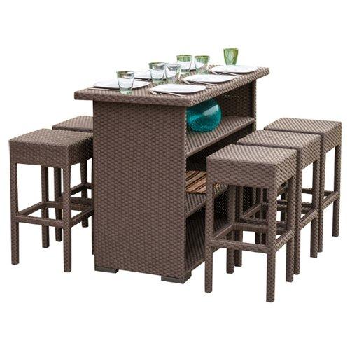 Amazon com   Home Loft Concept Redondo 7 Piece Outdoor Furniture Bar Set   Brown Wicker  Seats 6   Patio  Lawn   Garden. Amazon com   Home Loft Concept Redondo 7 Piece Outdoor Furniture