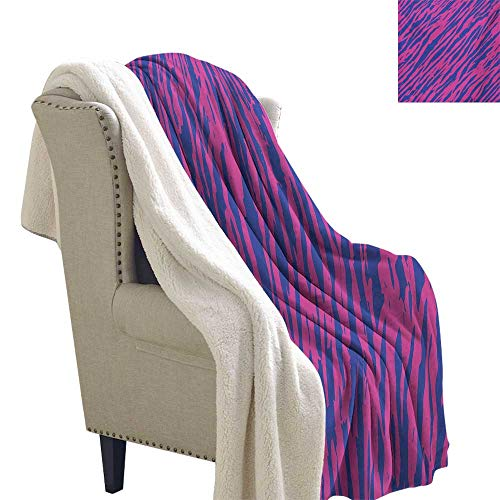 Gabriesl Pink Zebra Light Thermal Blanket 60x32 Inch Retro Design Grunge Abstract Murky Zebra Stripes with Wavy 80s Style Velour Blanket Cobalt Blue ()