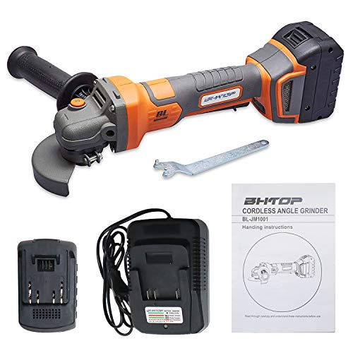 BHTOP Cordless Angle Grinder Lithium Ion-powered 20Volt Charger Brushless 4.5'' Including 4.0 Ah Battery,Charger and Carrying Case (4.5'') ()
