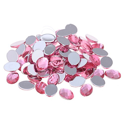 Nizi 13x18mm 200pcs Light Pink Oval Acrylic Rhinestones Flatback Earth Faceted Strass Gems 3D Nail Art Decorations