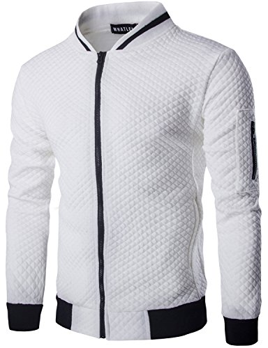 WHATLEES Mens Casual Soft Lightweight Zip Up Baseball Collar Bomber Jacket with Diamond Plaid
