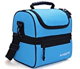 MIER Adult Lunch Box Blue Insulated Lunch Bag Large Cooler Tote Bag for Men, Women, Double Deck Cooler(Blue)