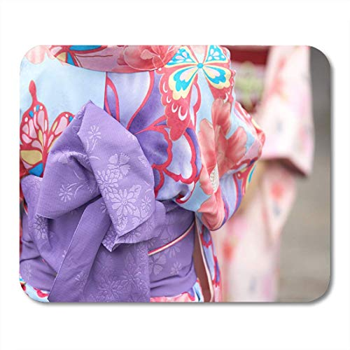 Mouse Pads Young Girl Wearing Japanese Kimono Standing in Front of Sensoji Temple Tokyo Japan is Traditional Garment Mouse Pad for Notebooks,Desktop Computers Office Supplies