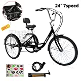 Weanas 7 Speed 24 Inch Adult Tricycle Trike Cruiser Bike Three-Wheeled Bicycle Men's Women's Cycling Bicycles for Recreation, Shopping w/Large Basket, Lock, Bike Pump (7-Speed 24 Inch (Black))