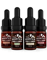 Beard Oil Sample Size Pack - Canadian Made - 4 Unique Beard Oil Varieties (5 ml each) - Cedarwood, Sandalwood, Bamboo & Unscented – Contains Essential Oils to Hydrate, Add Shine & Condition Beards
