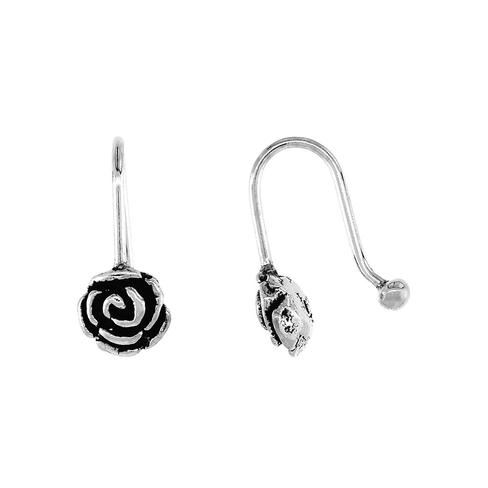 Small Sterling Silver Rose Nose Ring / Ear cuff Non-Pierced (one piece) 7/16 inch