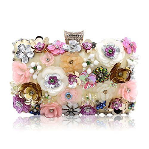 Milisente Women Evening Bag Flower Beaded Handbag Bridal Clutch Purse