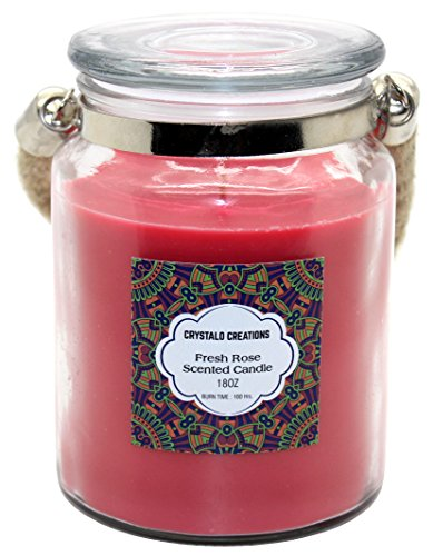 - Crystalo Creations Fresh Rose Scented Candle with Rope Handle, 18 Ounce