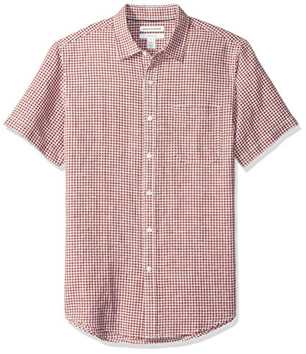 Amazon Essentials Men's Slim-Fit Short-Sleeve Gingham Linen