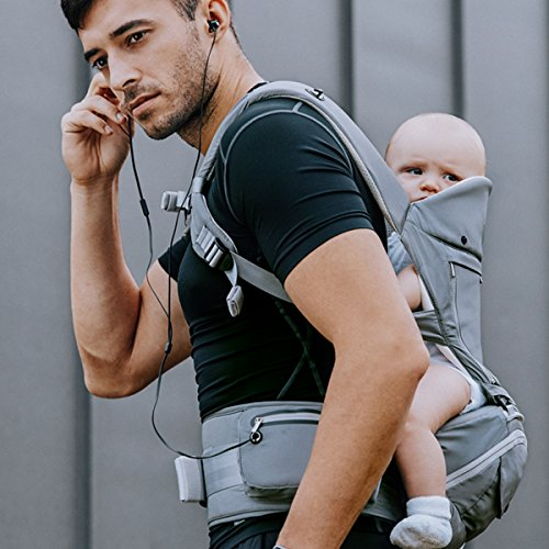 Bebamour Baby Carrier with Hip Seat 6 in 1 Ergonomic Baby Carrier Backpack (Grey)