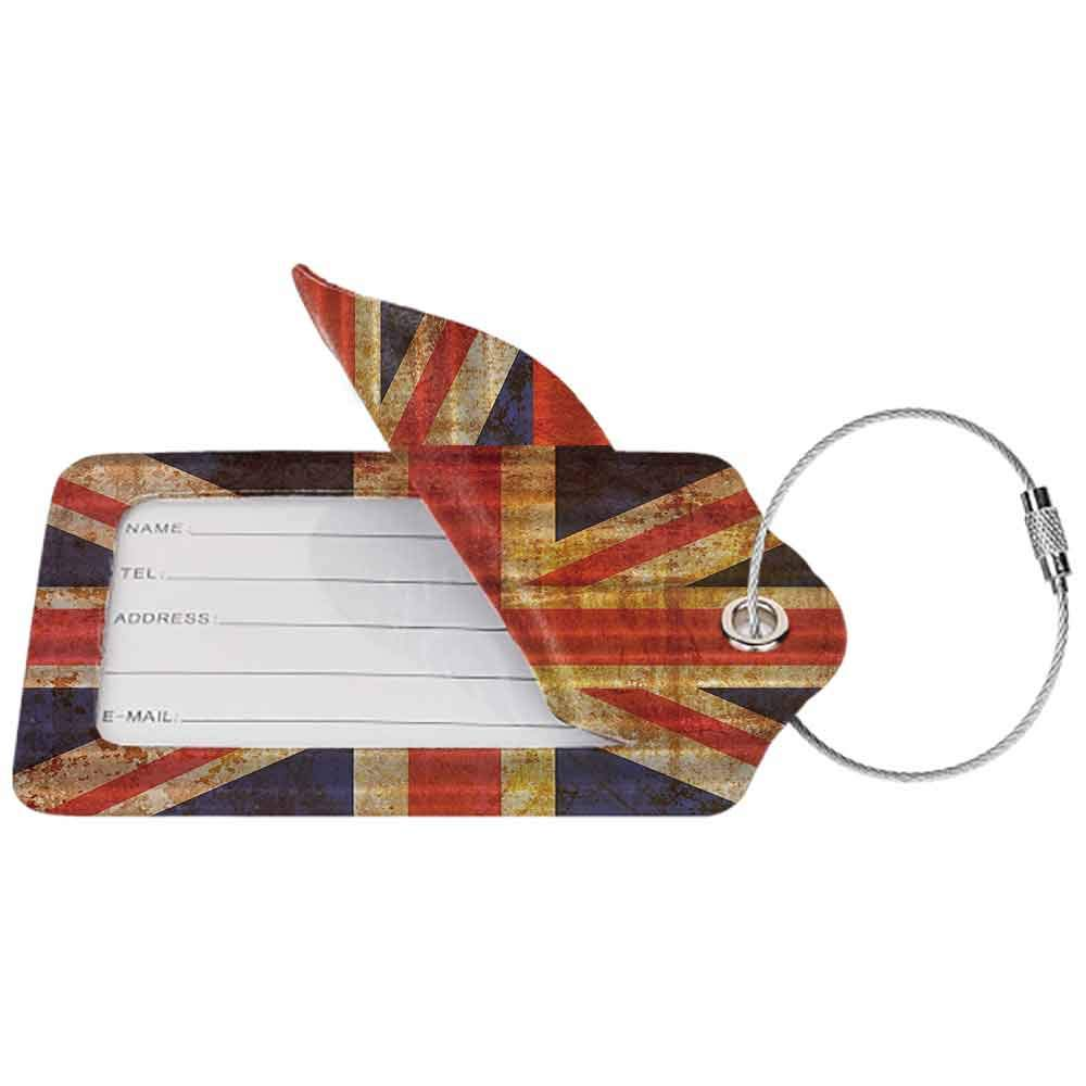 Waterproof luggage tag England Britain British Flag Patriot English Queen Grunge Made By Digital Printer Modern Soft to the touch Navy Orange Red White W2.7 x L4.6