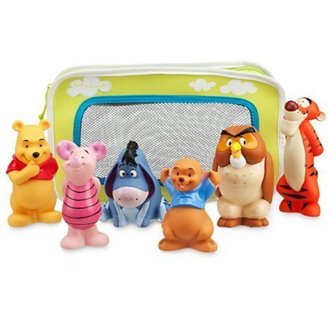Winnie the Pooh and Pals Bath Toy Set in Zipped Bag - Winnie the Pooh, Tigger, Eeyore, Piglet, Owl, and Roo (Toy Tigger)