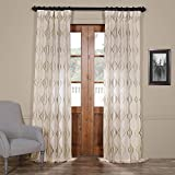 HPD HALF PRICE DRAPES Half Price Drapes SHCH-SLWE5296-96 Embroidered Faux Linen Sheer Curtain, Suez Bronze For Sale