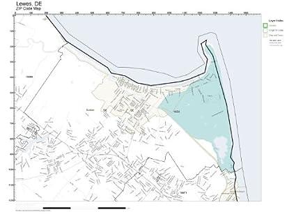 Amazon Com Zip Code Wall Map Of Lewes De Zip Code Map Laminated