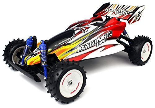 Velocity Toys Raging Fire Turbo Remote Control RC Buggy Huge 1:8 Scale Size Off Road 18 MPH Ready To Run, High Performance, 4 Wheel Suspension (Colors May Vary) (1 Parts 18 Aluminum Traxxas)