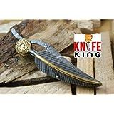 "Knife King ""Baby Blue"" Custom Damascus Handmade Folding Knife. Comes with a sheath."