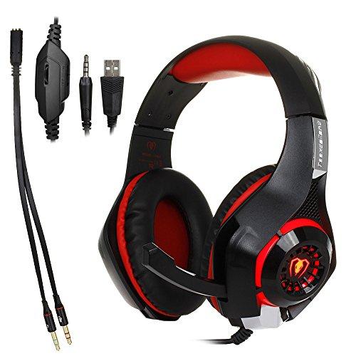 [해외]볼륨 조절 기능이있는 게임 헤드셋 USB 3.5mm 소음 차단 이어폰 내장 마이크 스테레오베이스 LED 라이트 (적색)/Gaming Headset with Volume Control USB 3.5mm Noise Can